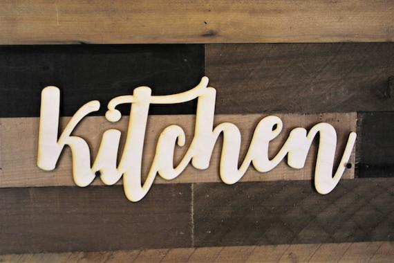 Kitchen Script Word Wood Sign Wood Sign Art Kitchen Wood