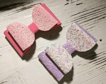 HANDMADE // Hundreds & Thousands Hair Bow // Pink Purple Bow // Bobbly Ball Hair Bow // Hair Bows // Girls Bow // Hair Accessories //