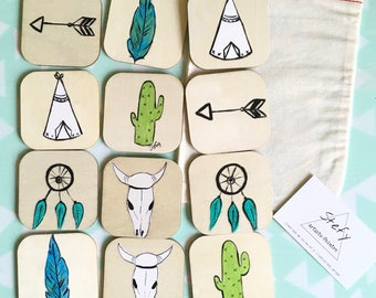 Wooden memory game, hand painted memory game, educational toy, made in quebec, stefy artiste, gift idea