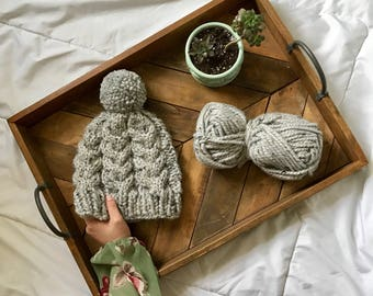 THE AINSLEY HAT    Chunky Cable Knit Hat    Grey Marble    Women's Knit Hat