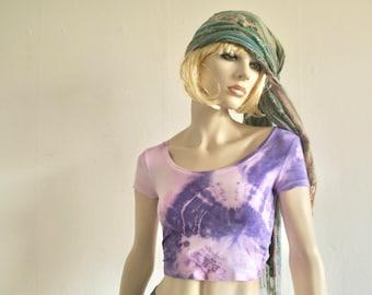 Croptop s purple, hippie girl, festival wear, Batik, Woodstock, Goa, trance