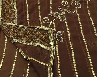 Indian Vintage Long Stole Georgette Dupatta Hand Beaded Brown Scarves Hijab Veil VDPD1746