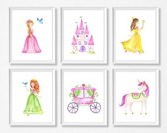 Princess Nursery Girl Bedroom Artwork, Watercolor Princess Art Prints, Watercolor Unicorn, Princess Castle Art Prints, Princess Carriage Art
