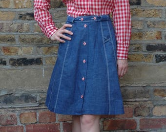 1970's gingham and denim hayride dress