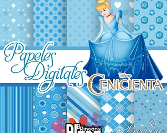 10 digital papers 12 X 12 Cinderella + Free Clipart
