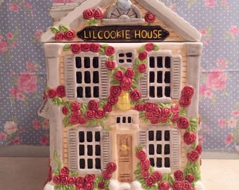 Rose cottage cookie house | cookie jar