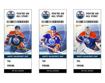 Edmonton Oilers Hockey Valentine's Day Card Ticket Printable Instant Download