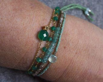 Bracelet gemstones & sterling silver beads
