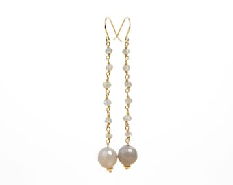 Fine gold, Silver earrings Labradorite and grey Agates