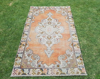 Oushak Rug, Turkish Rug, Vintage Rug, Area Carpet, Anatolian Rug, Low Pile Rug, Home And Office Rug, 4'6''x7'5''/ 139 x228cm, Handwoven Rug,