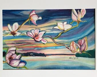 Original Watercolor Collage // Blooms over the Water 12x18