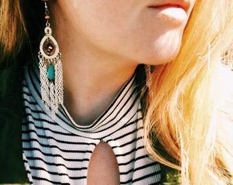 Bohemian Silver Chandelier Earrings, Bohemian Jewelry