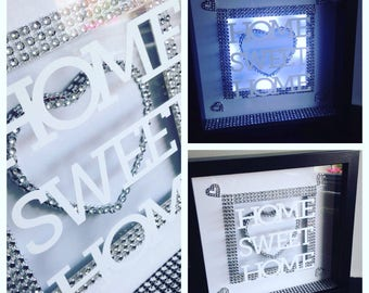 Quirky Home sweet home 3d light up box frame /housewarming /new house gift present