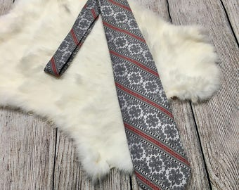 Vtg Kuhns and Shankweiler Grey Red Black Patterned Tie