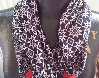Snood scarf hand made geometric style