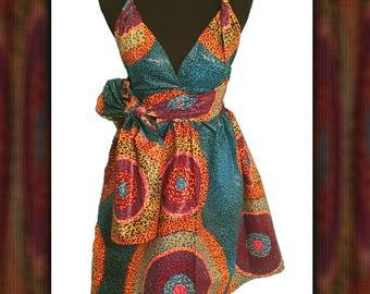 Ankara Infinity Wrap Dress. African Print Women's Clothing. Midi Dress