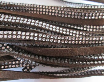 1 m cord suede Brown rivet / studs Silver 5 x 2 mm