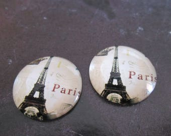 2 cabochons round glass 20 mm Eiffel Tower # 4
