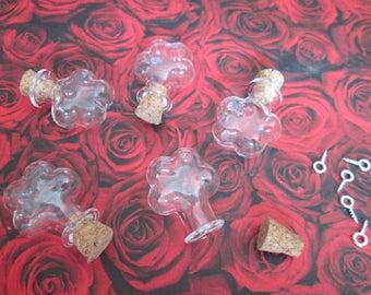 2 vials glass flower 24 x 21 x 6 mm with screw-screw