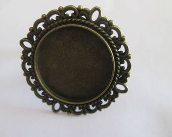 support Adjustable ring bronze cabochon 20 mm