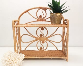 Vintage Natural Rattan Wicker Scroll Double Shelf Stand + Boho Jungalow Style + Plant Stand + Indoor Gardening + Decor Shelving