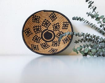 Vintage Handwoven Coil Bowl + Brown Black Geometric Neutral + Southwest Tribal African Boho Bohemian Jungalow + Naturally Modern Wall Decor