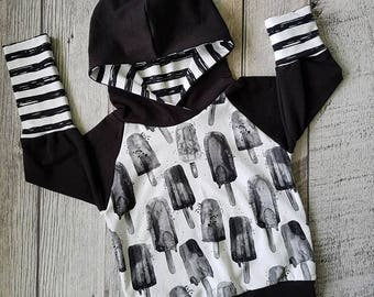 Hoodie scalable Popsicle and striped black and white