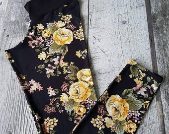 Leggings for women - yellow flowers