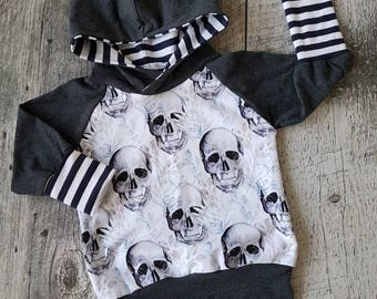 Scalable Hoodie - skulls, charcoal sleeves and striped Navy Blue