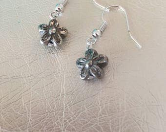 Silver earrings.  Silver dangle earrings.  Silver flower drop earrings with silver ear wire.
