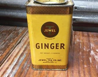 Vintage Jewel T Ginger Tin~Collectible Tins~Farmhouse Decor