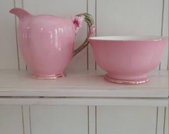 Royal Winton Pink Petunia Milk Jug and Sugar Bowl