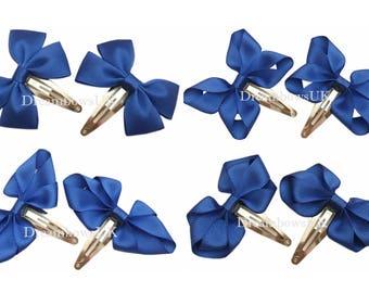 Royal blue grosgrain ribbon hair bows on snap clips, baby hair accessories, Children's hair accessories, royal blue hair accessories