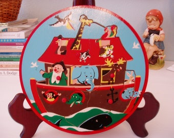 Round Noah's Ark Wooden Puzzle, Made in Holland, Vintage Nursery Decor