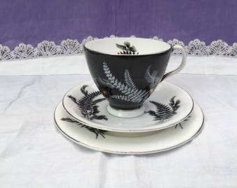 Royal Albert Night and Day Teacup Trio - footed teacup/saucer/side plate - pattern black and white fern, silver trim