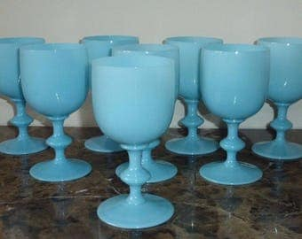 "8 Vintage Portieux Vallerysthal French Blue Opaline Water Goblets 6 1/2"" High"