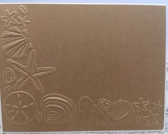 Set of 10  embossed seashell Notecards