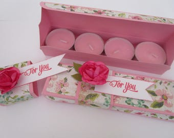 Scented Tealight Candles Gift Box (Rose Garden) - For You, Pink, Rose, Floral