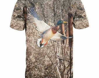 New ultramodern 3D  High Quality  Print Duck Real Nature short Sleeve t-shirt