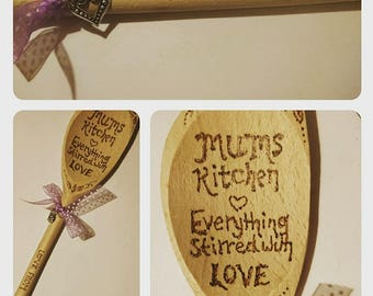 Wooden Spoon - Gift - Personalised - Mum, Nan, Names - Birthday etc. Ribbon Detail and Silver Heart Charm