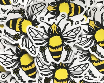 3 Honeybee Vinyl Stickers - by Moon Moppets