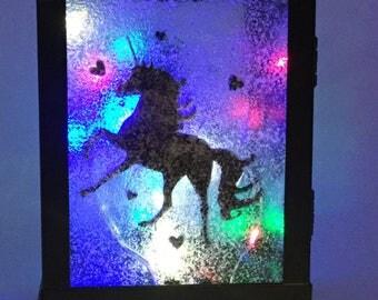 Multicolored LED Metal Unicorn Lantern