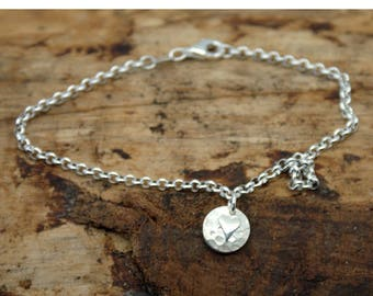 Sterling Silver Planished Bracelet with Polished Heart (YB002)