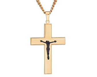 "Gold-Tone Cross with Black-Tone Diamond Cut Jesus Crucifix Pendant in Stainless Steel, 18""-24"" Chain"