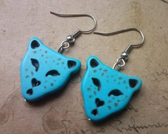 Turquoise Cheetah earrings ~ silver ~