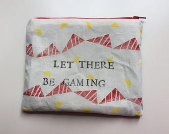 Let there be gaming handprinted zipper pouch / handprinted cosmetic bag