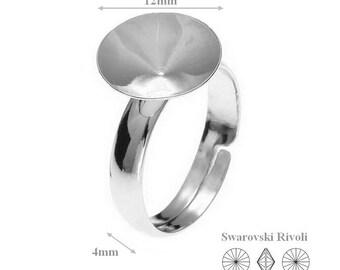 Silver Ring, Sterling Silver Adjustable Ring, for, Swarovski Crystals,1122, Rivoli 12mm