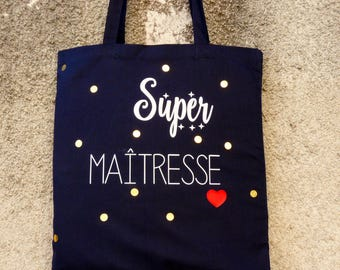 "Tote bag ""Super teacher"" / custom totebag / tote bag personalized"