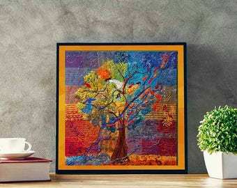 Árvore de Rio Art Print - Tree Wall Decor - Embroidery Art - Fine Art - Colorful Art - Living Room Decor - Textile Art Print - Giclee Print