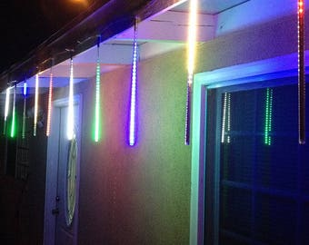 Custom Sized (Custom Tubes) 3528 SMD 600 LEDs  Meteor Shower Waterproof Rain Light, 1.6-Feet, for Xmas party or Wedding Deco - Multi Color